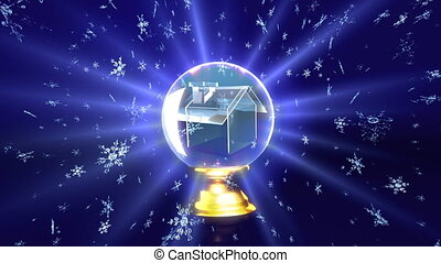 crystal ball future house - The background of snow flare...