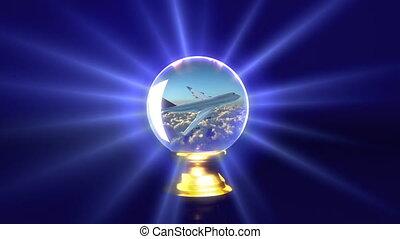crystal ball future plane - traveling idea