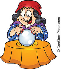 Crystal ball - Gypsy woman looking at a crystal ball. Vector...