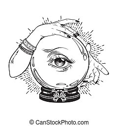 Crystal ball in hands of fortune teller - Hand drawn magic...