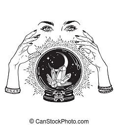 Crystal ball in hands of fortune teller