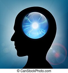 Crystal ball in the human head. Stock vector.