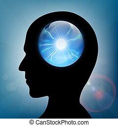 Crystal ball in the human head. Stock vector.