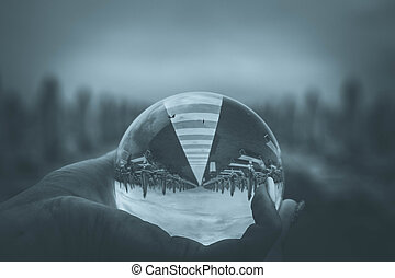 crystal ball on the beach