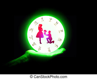 Crystal ball on the hand of fortune teller woman,background