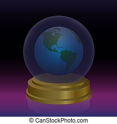 Crystal ball with planet earth. Symbol for forecast, fortune telling, oracle and future prediction of mankind and nature. Vector illustration.