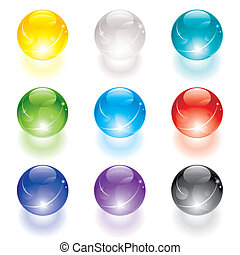 Crystal Ball - Set of translucent crystal ball, vector...