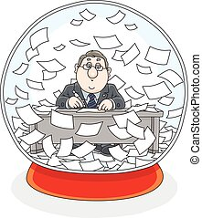Crystal ball with a clerk and papers inside - Vector...