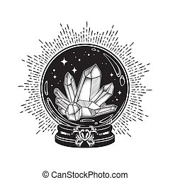 Crystal ball with gems line art and dot work - Hand drawn...