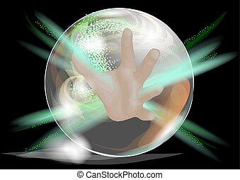 crystal ball with hand