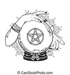 Crystal ball with pentagram in hands of gypsy - Hand drawn...