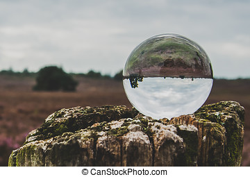 Crystal ball with the reflection of a heathland - Creative...