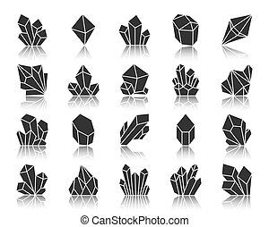 Crystal black silhouette icons vector set