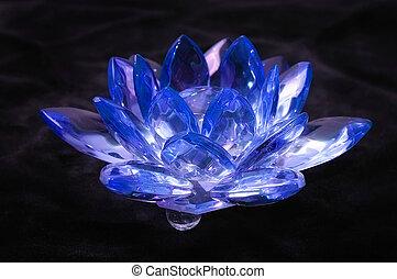 Crystal Blue Flower on a black velvet