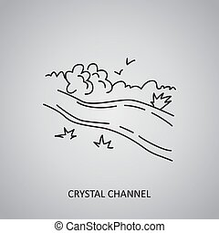 Crystal Channel icon on grey background. Colombia, Meta. Line icon