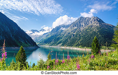 Crystal clear alpine lake Schlegeis, Austria - Crystal clear...
