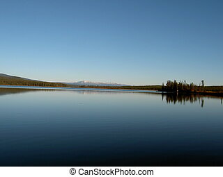 Crystal clear lake - Crystal clear and flat lake. Yukon,...