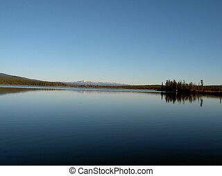 Crystal clear lake - Crystal clear and flat lake. Yukon,...