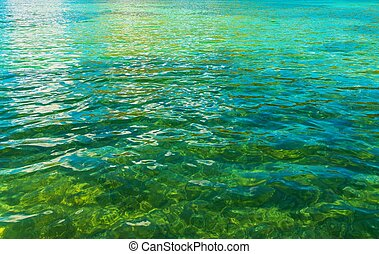 Crystal Clear Lake Water Closeup Photo. Nature Background...