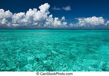 Crystal clear turquoise water at tropical beach