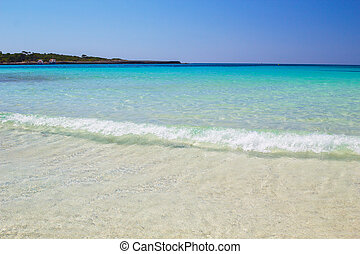 Crystal clear water and white sand at Cala Son Saura beach,...