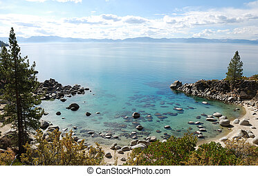Crystal Clear Water Bay on Lake Tahoe with Sunny Skies