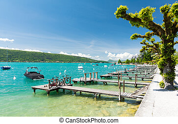 crystal clear water in Lake Annecy in France - Beautiful...