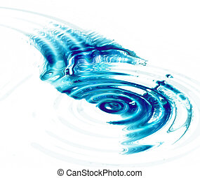 Crystal clear water ripples on white background - Crystal...