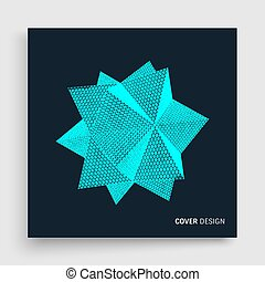 Crystal. Cover design template.  Molecular grid. 3d futuristic technology style for chemistry and science. Vector illustration.