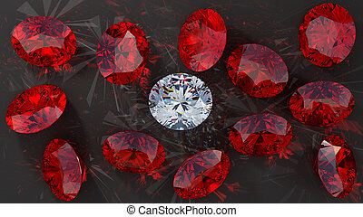Crystal diamond among red rubies on smooth surface. Extralarge resolution