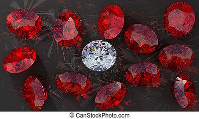 Crystal diamond among red rubies on smooth surface. ...