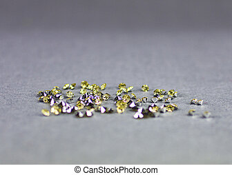 Crystal diamons on grey natural background. Copy space. ...