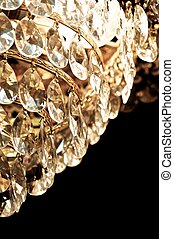 Crystal drops. - Crystal chandelier hanging on the old, like...