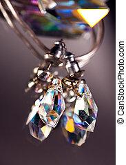 Crystal earrings - Closeup image of a crystal earrings