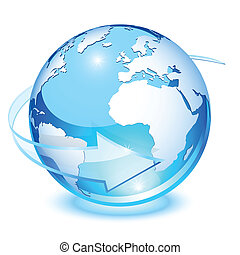 Blue crystal earth, with transparent arrow for rotation