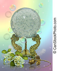 Crystal gazing ball - Image and illustration composition of...