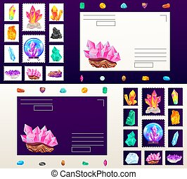 Crystal gem postage stamp vector illustration, cartoon flat beautiful gemstone crystalline jewelry postmark collection for mails