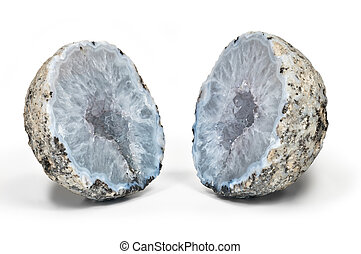 Crystal geode divided in two parts - Crystal geode with...