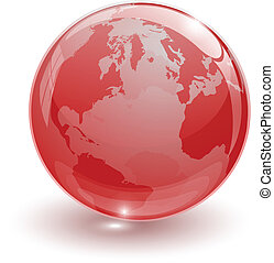 crystal glass ball for globus - Crystal glassy ball on white...