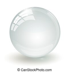 Crystal glass ball on a white background
