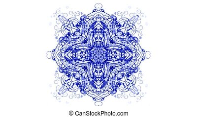 crystal glass religion flower mandala fancy pattern, plant vines growing, rotation ribbon and particles chain, swirl profiled microbe and jellyfish, cells and plankton.