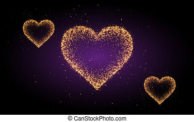 crystal gold heart on abstract background