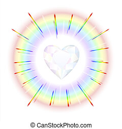 Crystal Heart Rainbow - Finely polished crystal in the shape...