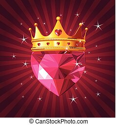 Crystal heart with crown on radial