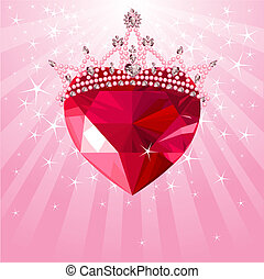 Shiny crystal love heart with princess crown on radial background