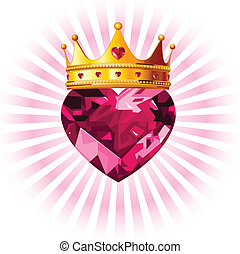 Shiny crystal love heart with princess crown design