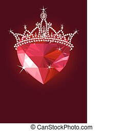 Shiny crystal love heart with princess crown on dark background