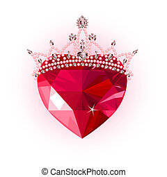Crystal heart with crown - Shiny crystal love heart with...