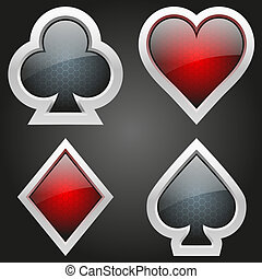 Icons set of four card suits of crystal button. Bright symbols of gambling. Vector Illustration, editable and isolated.