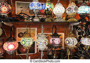 Crystal lamps for sale on the Grand Bazaar at Istanbul
